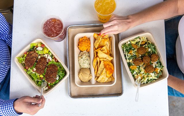 Power lunchin', Yalla-style. Grab your work wife/hubby and join us for a Mediterranean feast!⁣ ⁣ ⁣ #yallamedi #onmyplate #powerlunch #YelpOC #bonappetit #tastingtable #lunchgoals #couplegoals #workwife #LAeats