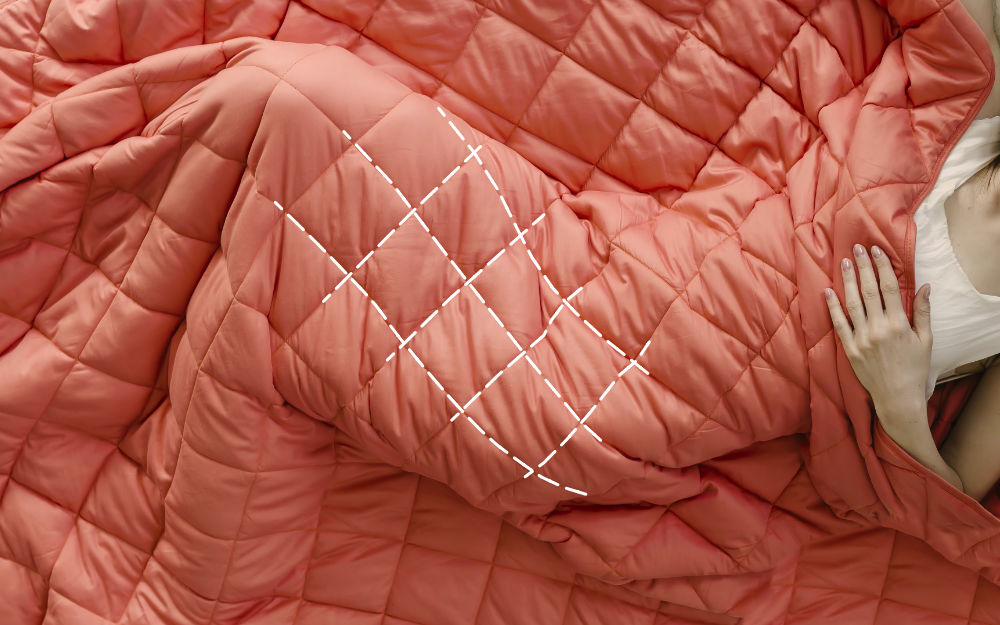 """The Corala Blanket utilizes smaller-than-average 4x4"""" diamond squares to keep weight perfectly distributed."""