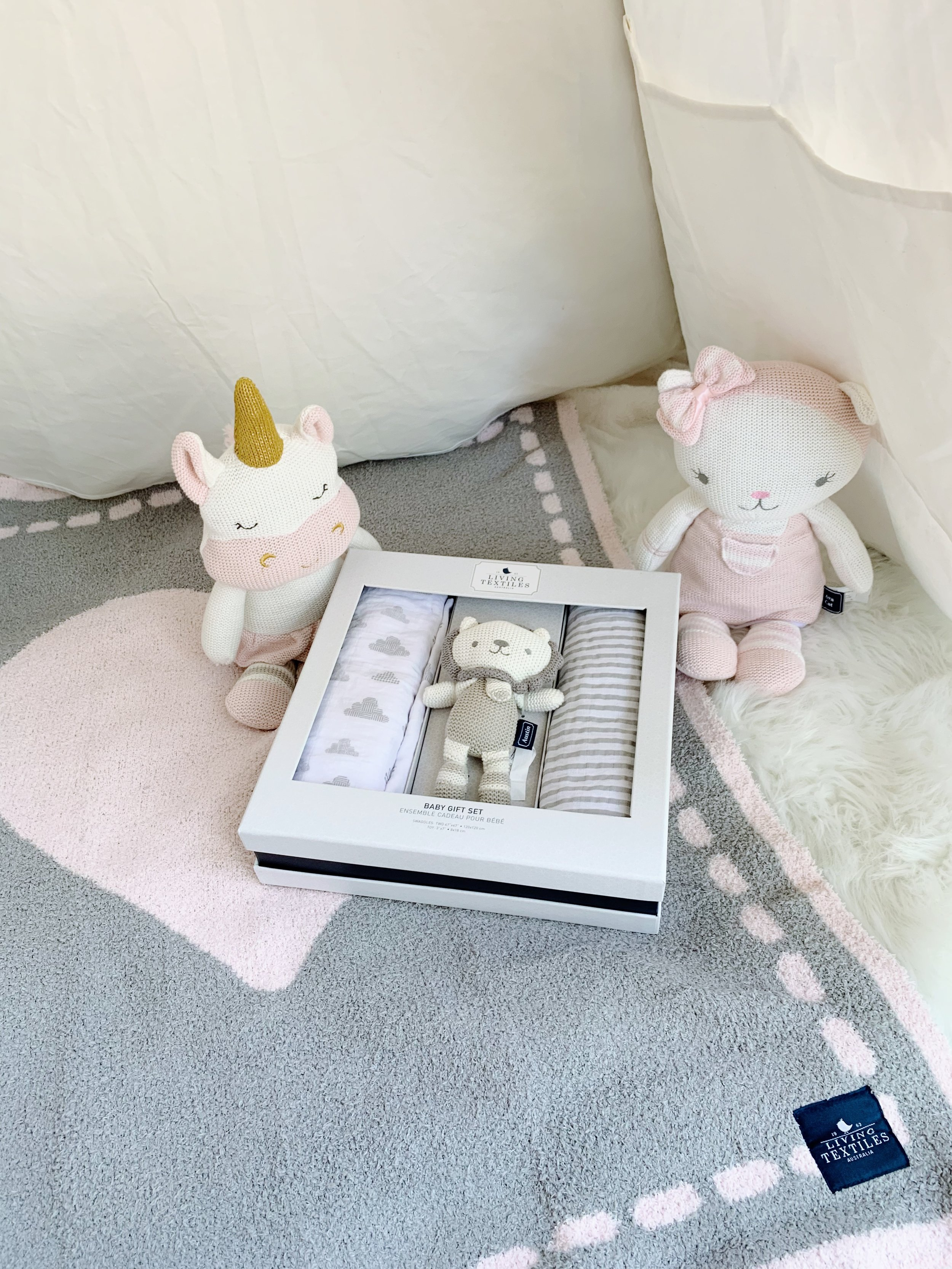 Knitted Toys- Ava Cat and Kenzie Unicorn, Baby Bento Gift Set and Cozy Chenille Baby Blanket