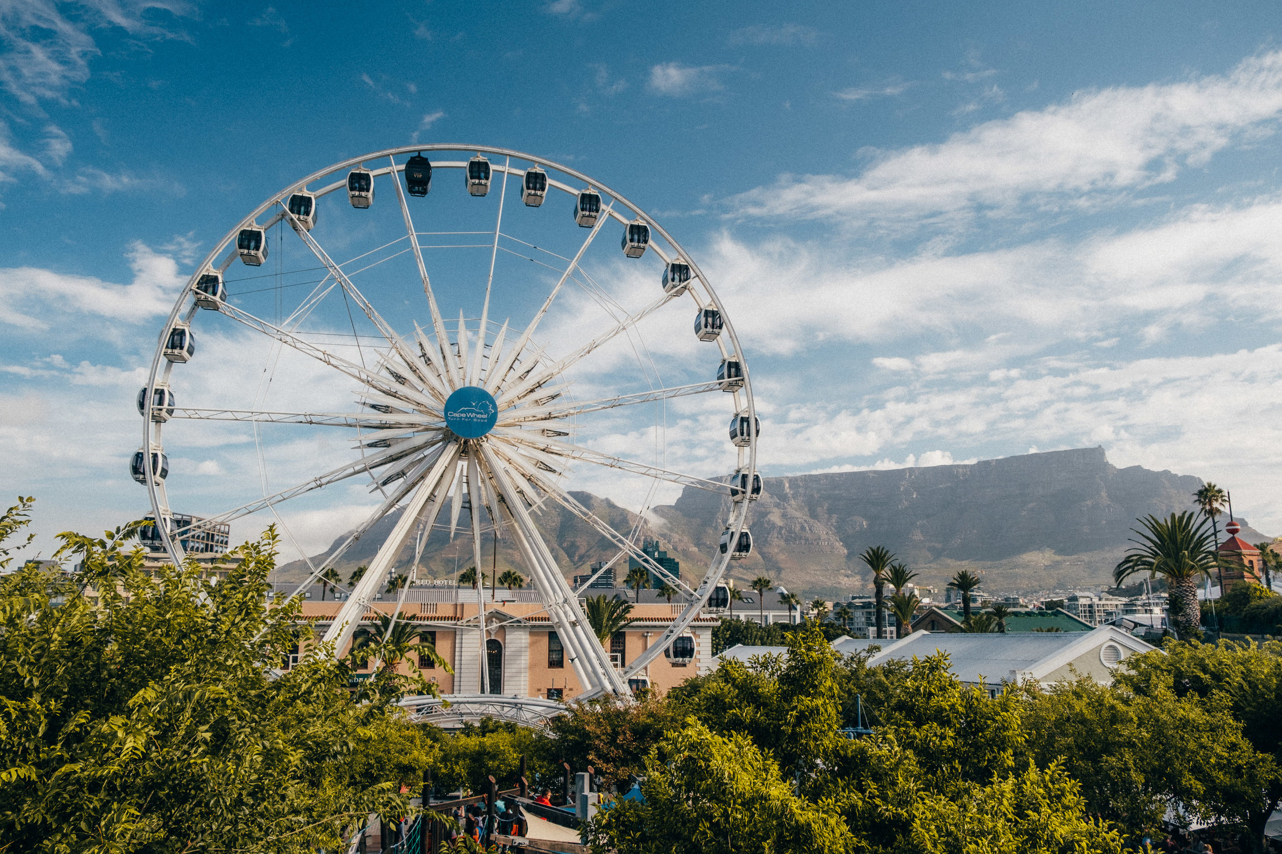 The Cape Wheel - Centred at the Waterfront. With 30 fully enclosed air conditional cabin that will take you 40 metres above the ground for an incredible experience.From each ticket that is sold R5 will go to the give for good foundation
