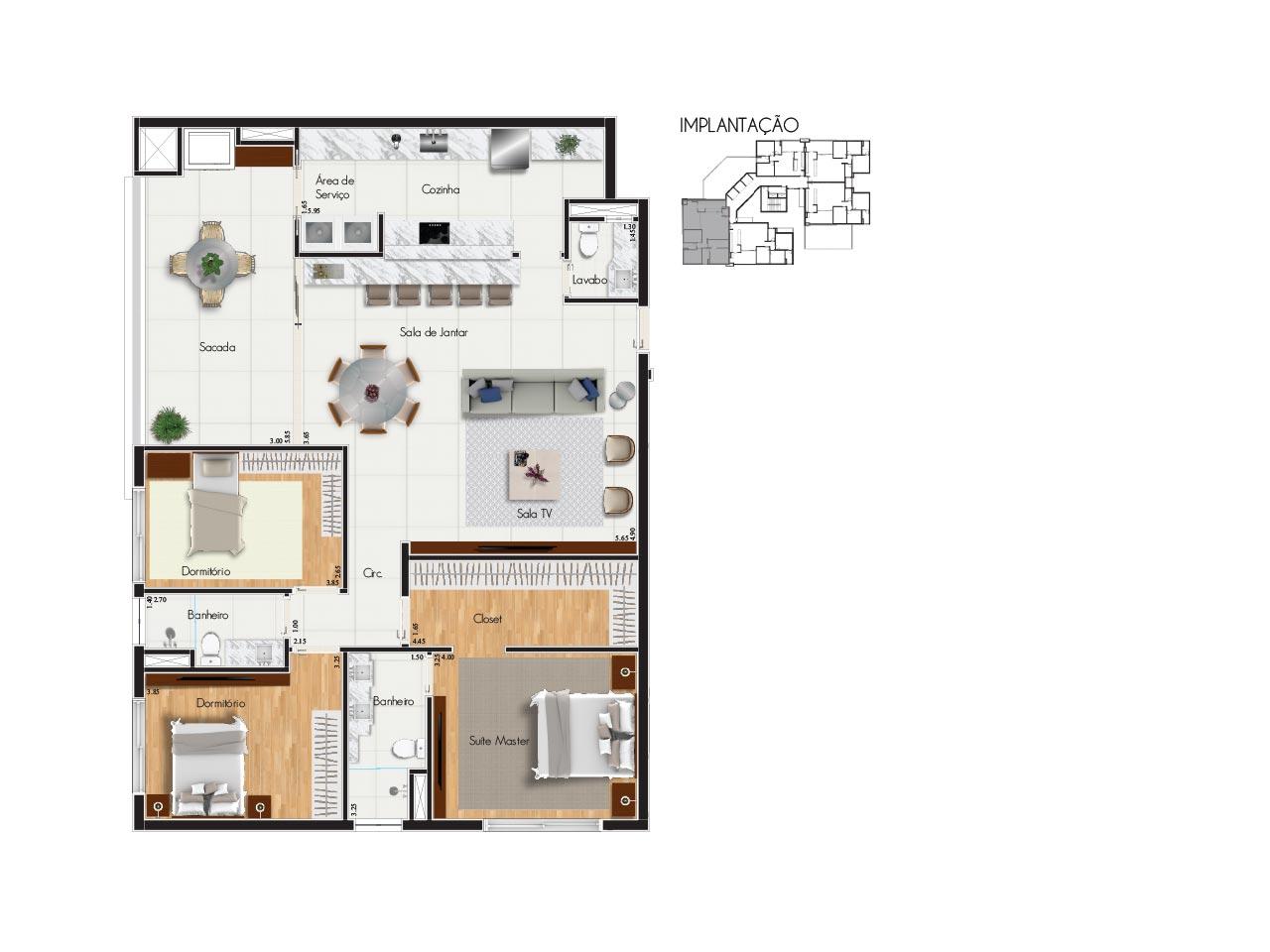 Apartamento tipo 1 - Características:2 vagas de garagem2 quartos1 suíte com closetVaranda com churrasqueiraSala para 2 ambientesBanheiro socialLavaboÁrea de serviçoQuadro de áreasÁrea privativa: 164,00m2Área total: 254,76m2Área útil: 140,00m2