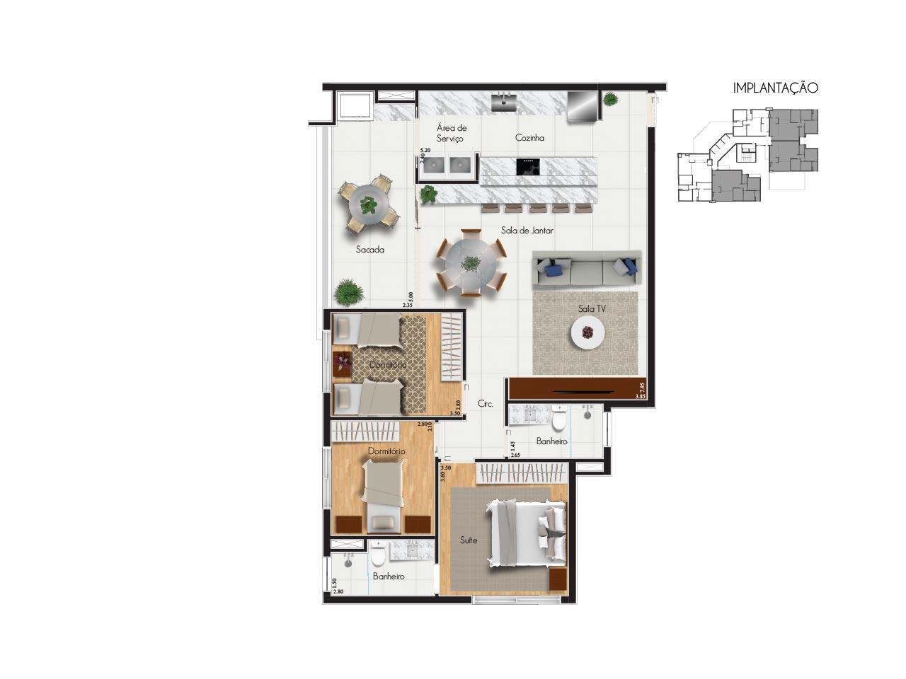 Apartamento tipo 2 - Características:2 vagas de garagem3 quartos, sendo 1 suíteVaranda com churrasqueiraSala para 2 ambientesBanheiro socialÁrea de serviçoQuadro de áreasÁrea privativa: 143,51m2Área total: 222,92m2Área útil: 119,51m2