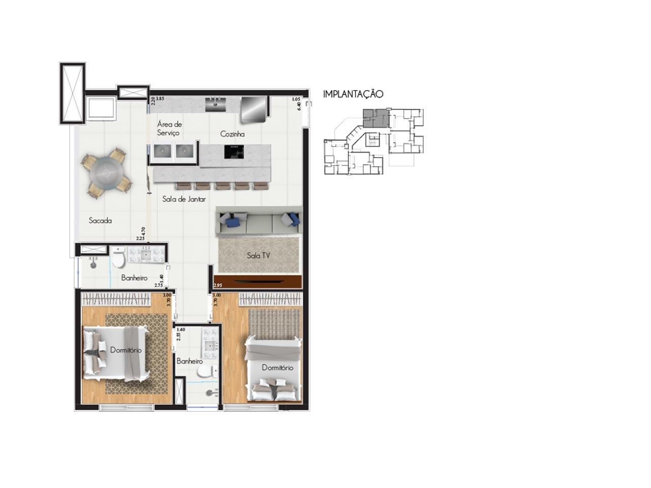 Apartamento tipo 3 - Características:2 vagas de garagem2 quartos, sendo 1 suíteVaranda com churrasqueiraSala de 2 ambientesBanheiro socialÁrea de serviçoQuadro de áreasTipo 3AÁrea privativa: 106,55m2Área total: 165,51m2Tipo 3BÁrea privativa: 96,75m2Área total: 150,28m2Área útil: 82,55m2