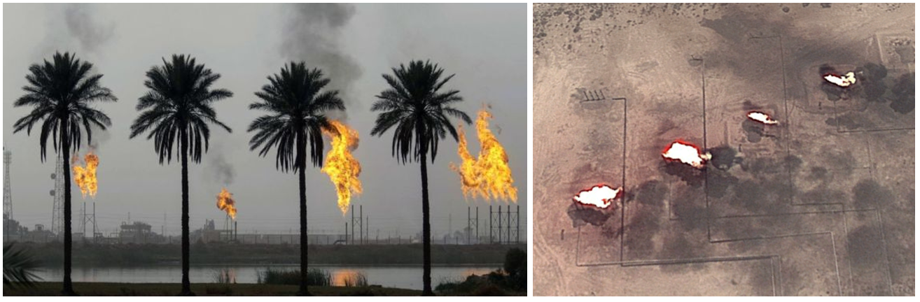 Figure 2: Image left (courtesy of Getty and    BBC   ) highlights flaring at the Nahr Bin Omar natural gas field, just north of Basra, Iraq. Image right is a satellite image of (the plumes indicate that it is likely to be pulsating every few seconds) flaring from space, from Capterio's Global Flare Intelligence Tool (GFIT), with image courtesy of Maxar Technologies and Google. Power transmission lines are seen in the photograph, and are clearly observable from space.
