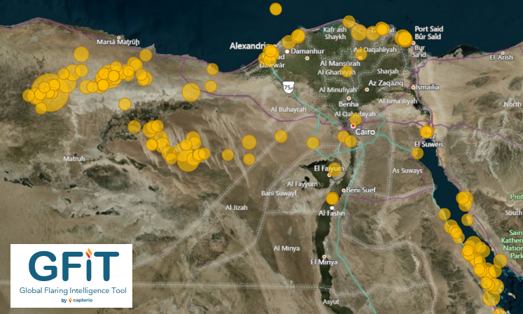 Figure 2: Overview of flares in Egypt, extracted from Capterio's Global Flare Intelligence Tool (GFIT) Size of bubble represents size of flare.    Cover image: His Excellency Minister Tarek El Molla and his distinguished panel discuss the global energy landscape.