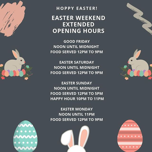 👀 We've got your Easter sorted! We've extended our opening hours and food service times for the holiday weekend. 🍽 Book your table now to avoid disappointment ... 😋 See you soon 🙂 #Easterweeknd #extendedhours
