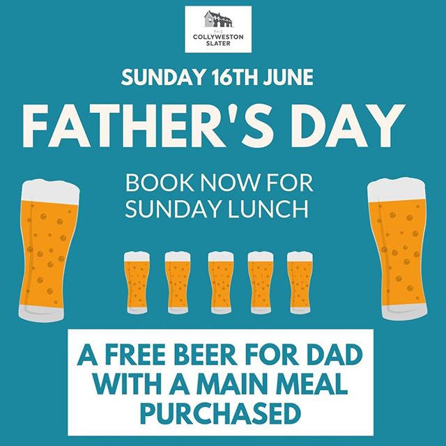 Treat Dad to Sunday Lunch at The Collyweston Slater for Father's Day on 16th June - served till 5pm ... and there's a free beer for him too - on us 🍺  Book your table now...we're filling up fast.