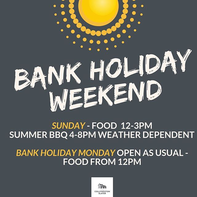 We've got your Bank Holiday Weekend SORTED. We're open as usual. Come and spend it with us ☀ 🕶 🍻