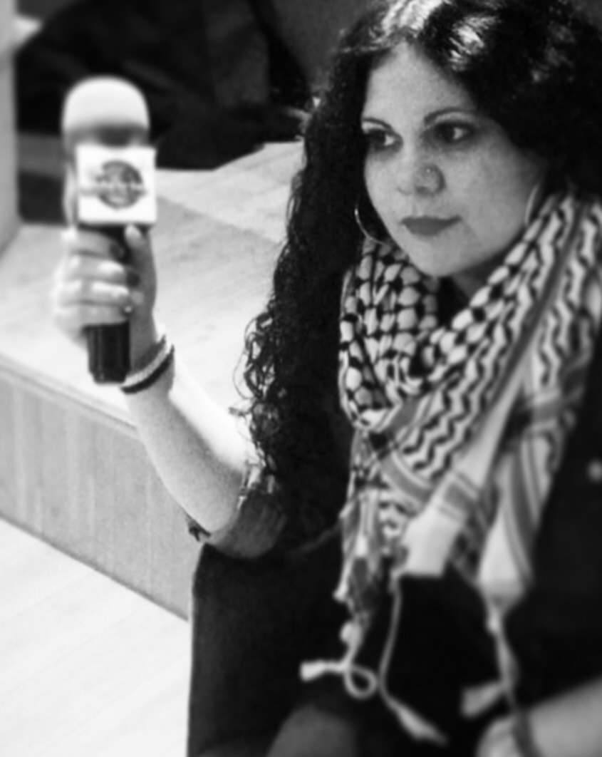 Nana Khalil   Nana is a member of Existence is Resistance since 2014. She grew up around Palestinian activism and attending demonstrations since she was a child. She traveled to Palestine with EIR in 2015 to begin the filming of the documentary Black in the Holy Land.