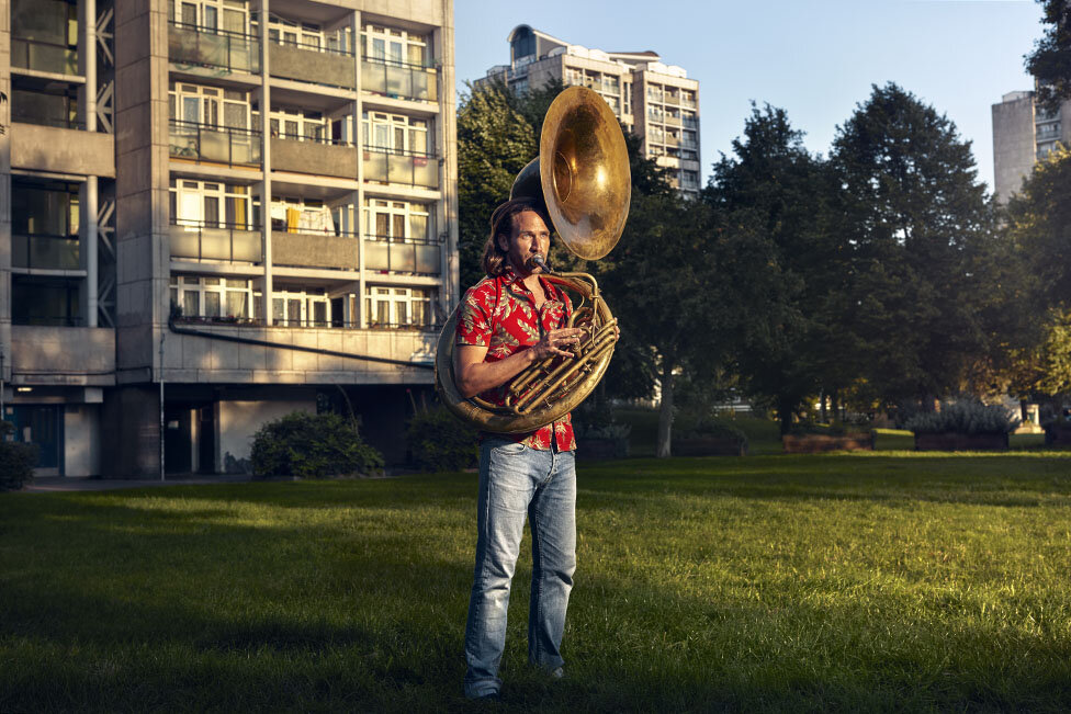 Rehearsal Room by Jon Enoch. Pictured: Bruce Stevens and his Sousaphone in Oval, London.
