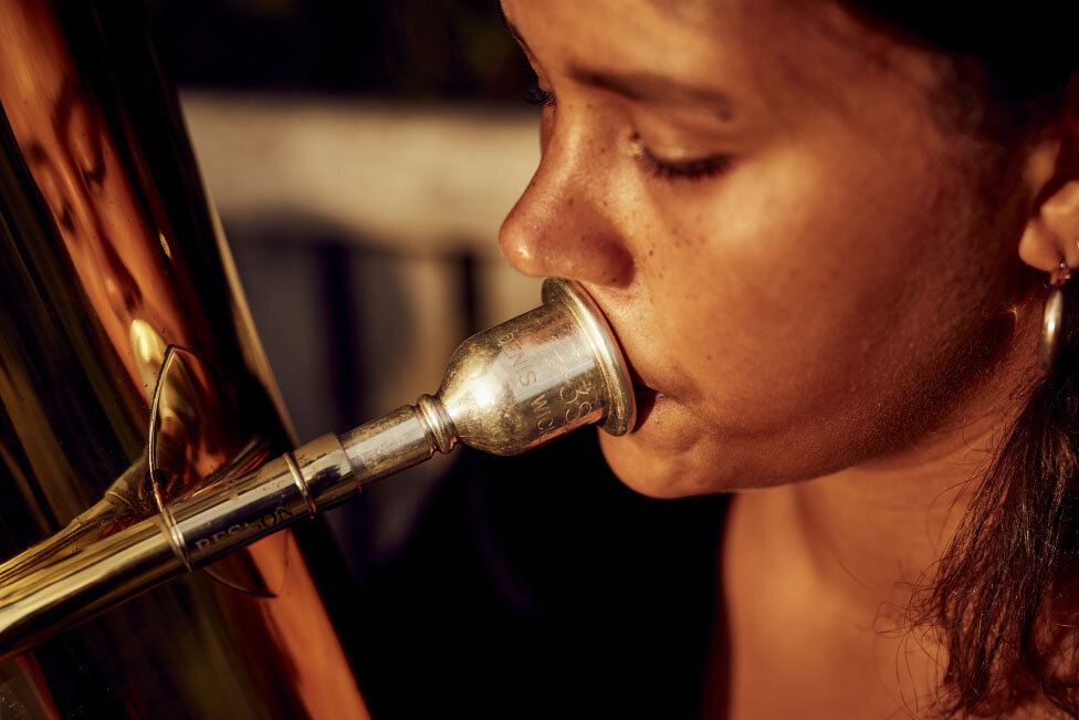 Rehearsal Room by Photographer Jon Enoch. Pictured: Hanna Mbuya and her Tuba in Denmark Hill, London.