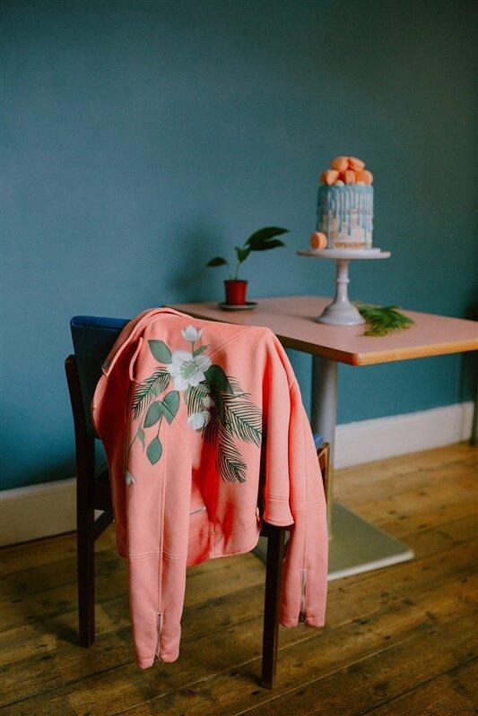 Handpainted Coral Jacket by Wildwood Paper