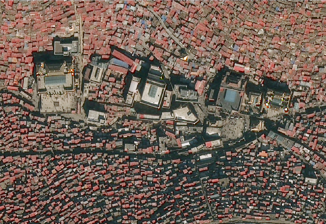 The centre of Larung Gar in April 2017 (Apollo Mapping)