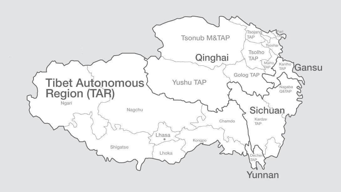 Tibet as divided by China. Kardze is located within the borders of Sichuan Province.
