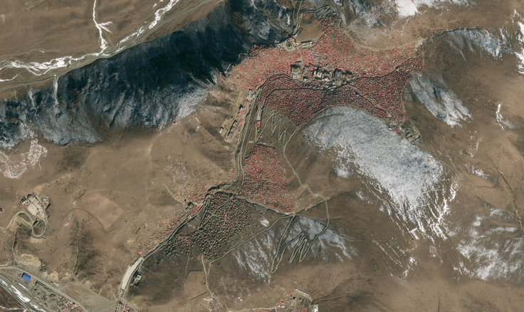 Aerial view of Larung Gar shot in January 2016, showing the full extent of the site (Apollo Mapping)