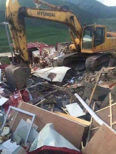 Demolition in progress, July 2016