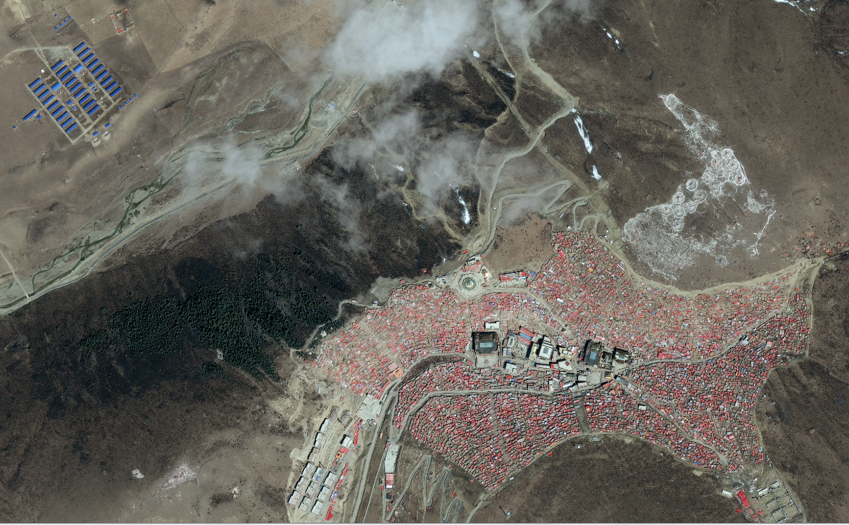 Aerial view of the nuns' accommodation in relation to Larung Gar, April 2017 (Apollo Mapping)