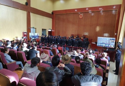 Sentencing at Rebkong County People's Court. 10 April 2019.