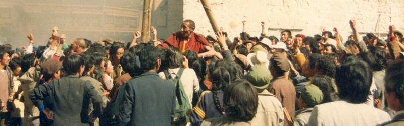 In the middle: monk Jampa Tenzin, October 1987