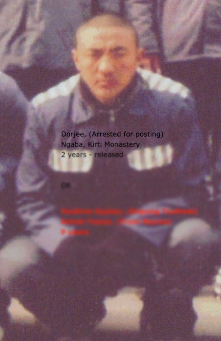 Lobsang Dorjee. The text over the image refers to his previous prison sentence.