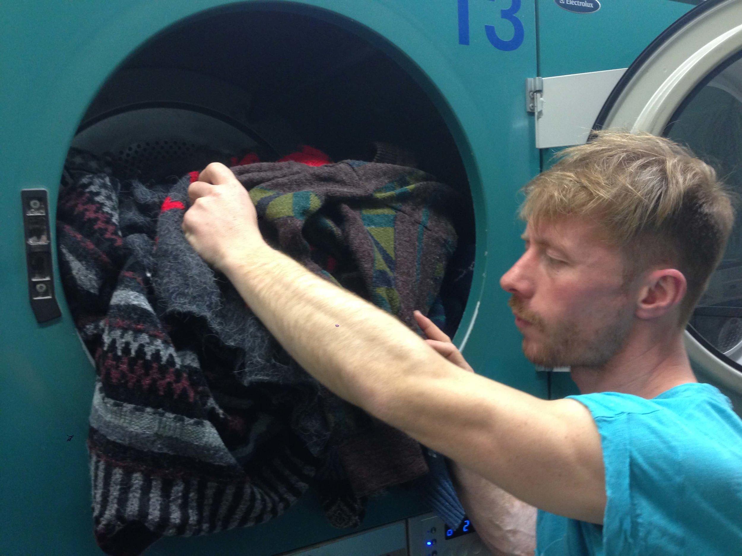 Oliver washing vintage sweaters