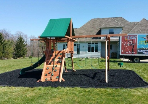 FULL SERVICE - Click on the picture to view examples of other services we provide such as rubber mulch bases, basketball court painting, and restaining wood playsets. Moving? We move playsets and basketball hoops as well.