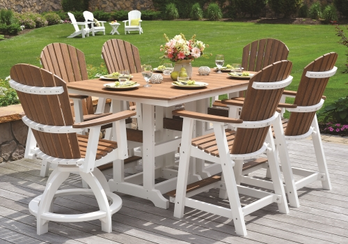 TABLES AND PATIO SETS - We have everything from classic picnic tables to patio sets in dining, counter or bar heights. Click on the picture to see more.