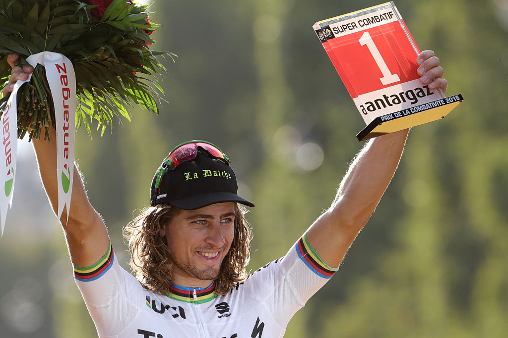 Peter Sagan celebrates with the 'Combativity Prize' at the 2016 Tour de France (Getty Images)