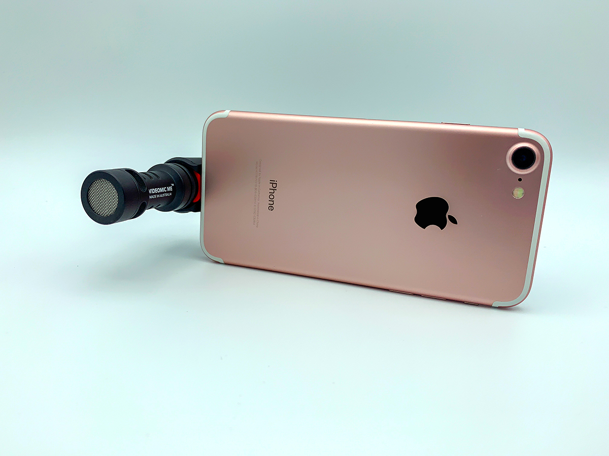 The Røde Video Mic Me-L is pictured here with the iPhone 7