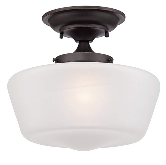 "Schoolhouse Floating 12"" Wide Bronze Opaque Ceiling Light - $49.99"