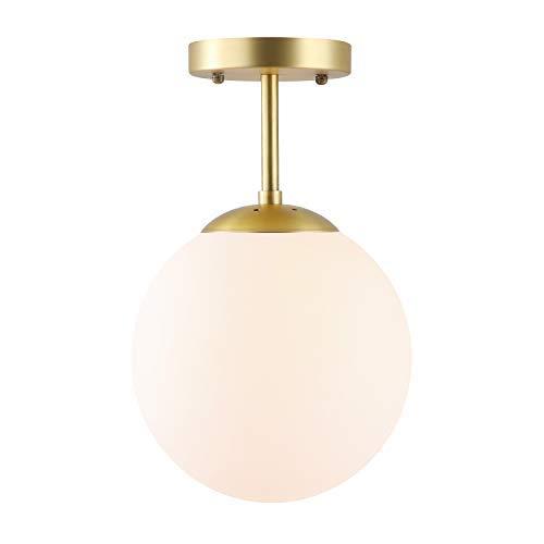 Globe Semi Flush Mount Matte White Ceiling Light with Brass Finish - $49.95