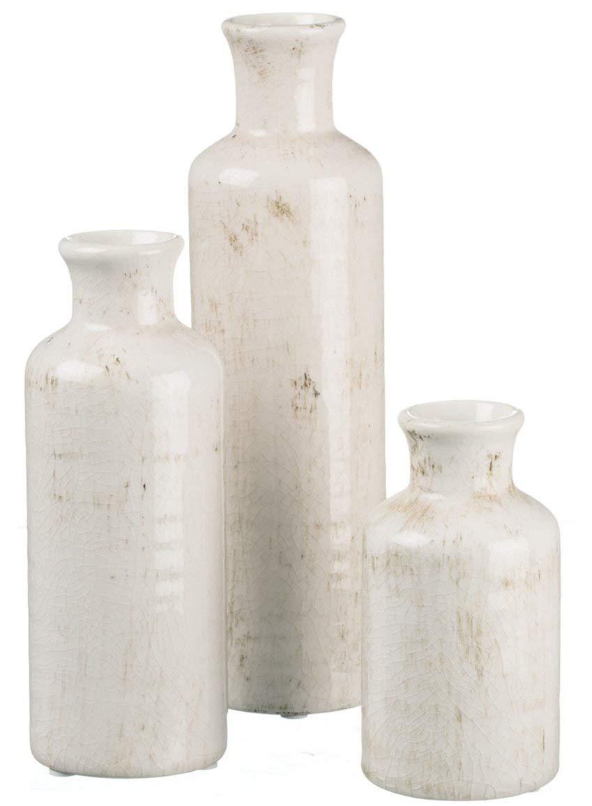 Distressed White Ceramic Vase Set - $30.00