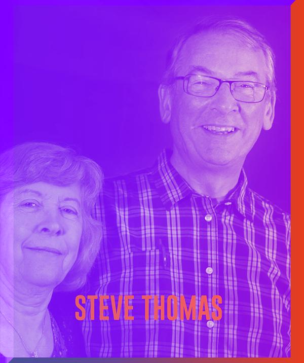 — STEVE THOMAS —   Steve et Lorraine sont basés dans l'Oxfordshire, au Royaume-Uni. Investis au niveau local avec plusieurs églises dans les alentours, ils font aussi partie de l'équipe francophone Destinée. Steve est responsable de l'équipe internationale de Salt & Light Ministries, rassemblant les dirigeants de chacune des familles d'églises et de sphères apostoliques de la famille internationale Salt & Light.