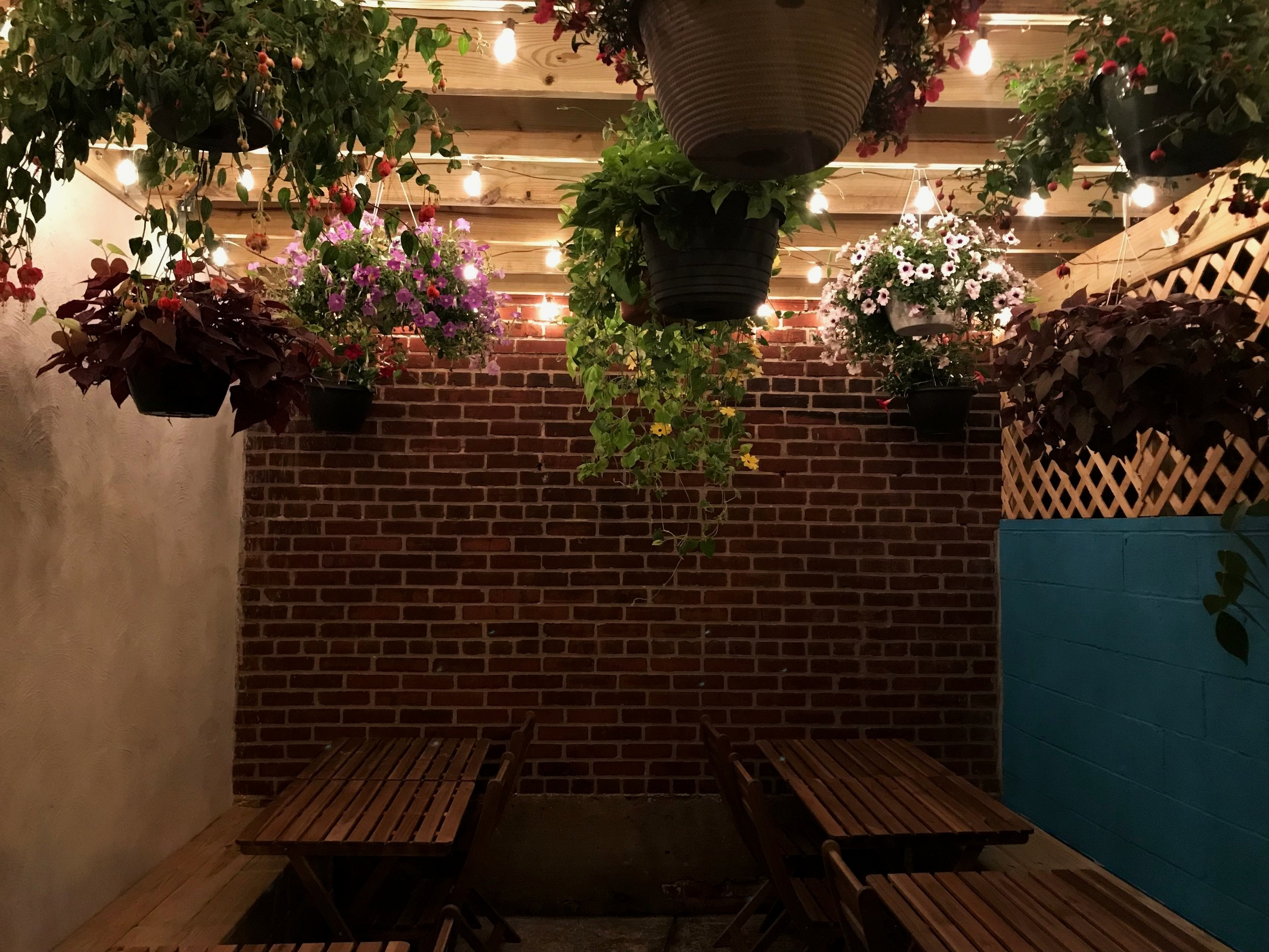 backyard patio open - perfect for a summer party, available for groups of 10-16. Call or email for menus and availability