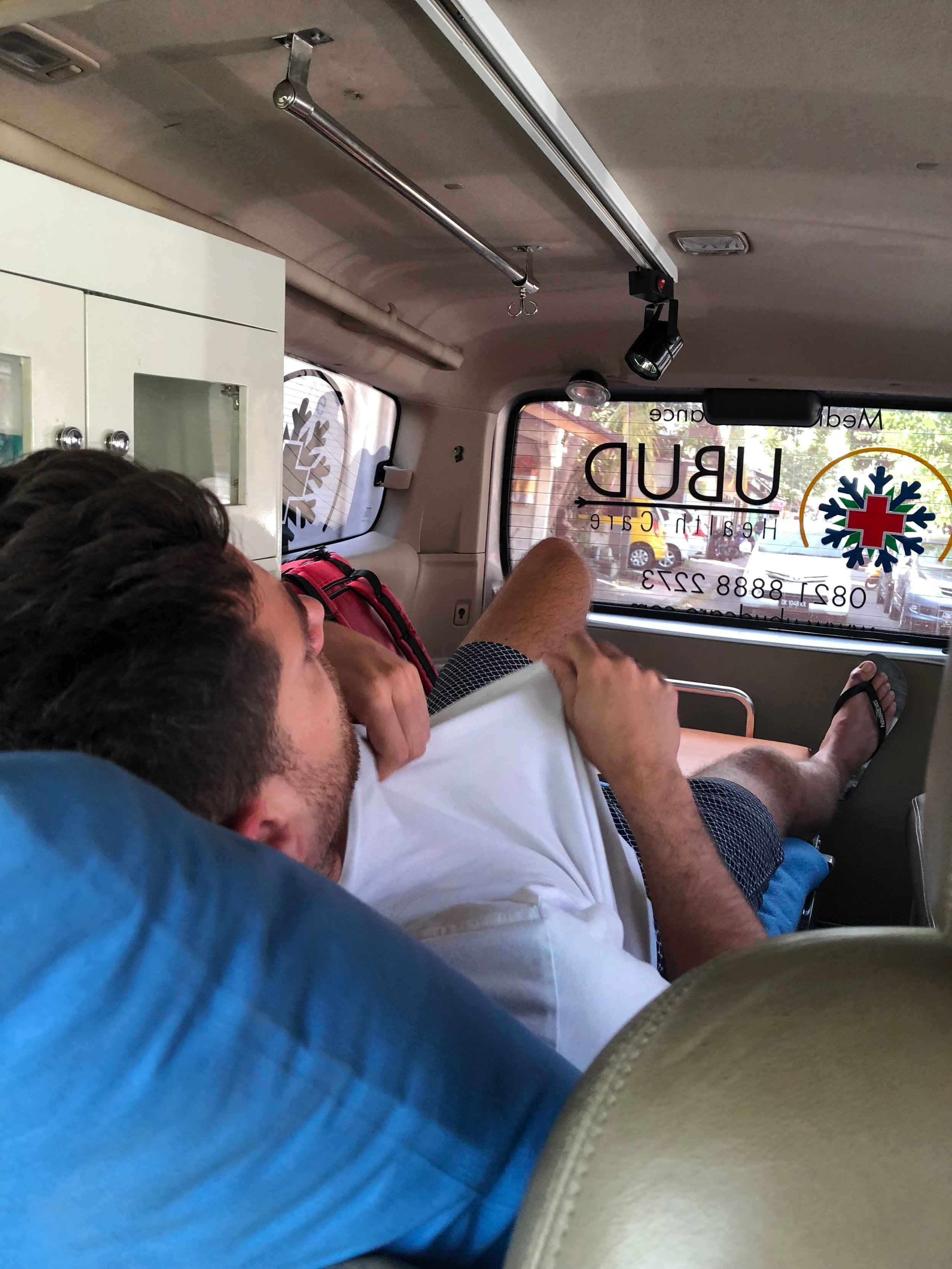 My boyfriend in an ambulance in Ubud on his way to the hospital