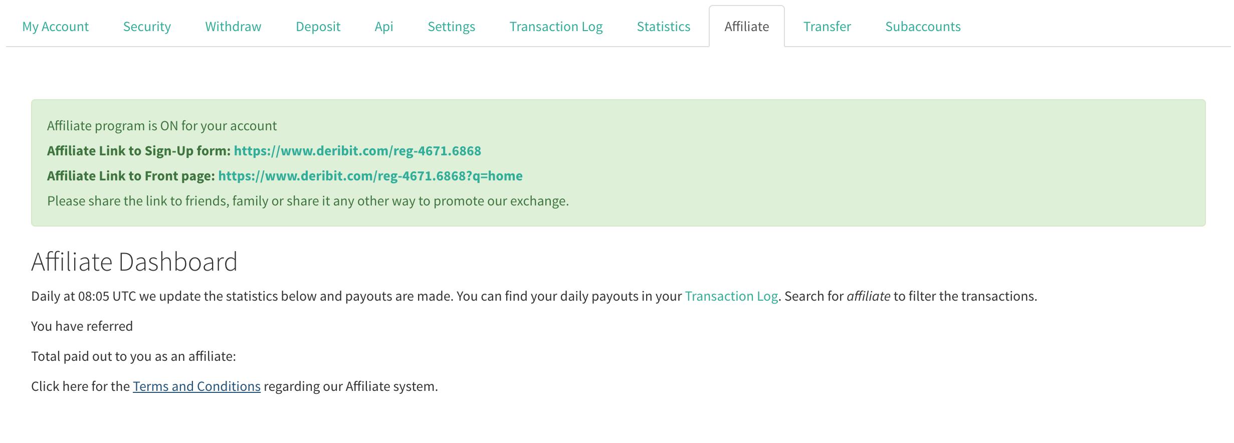 deribit affiliate program screenshot