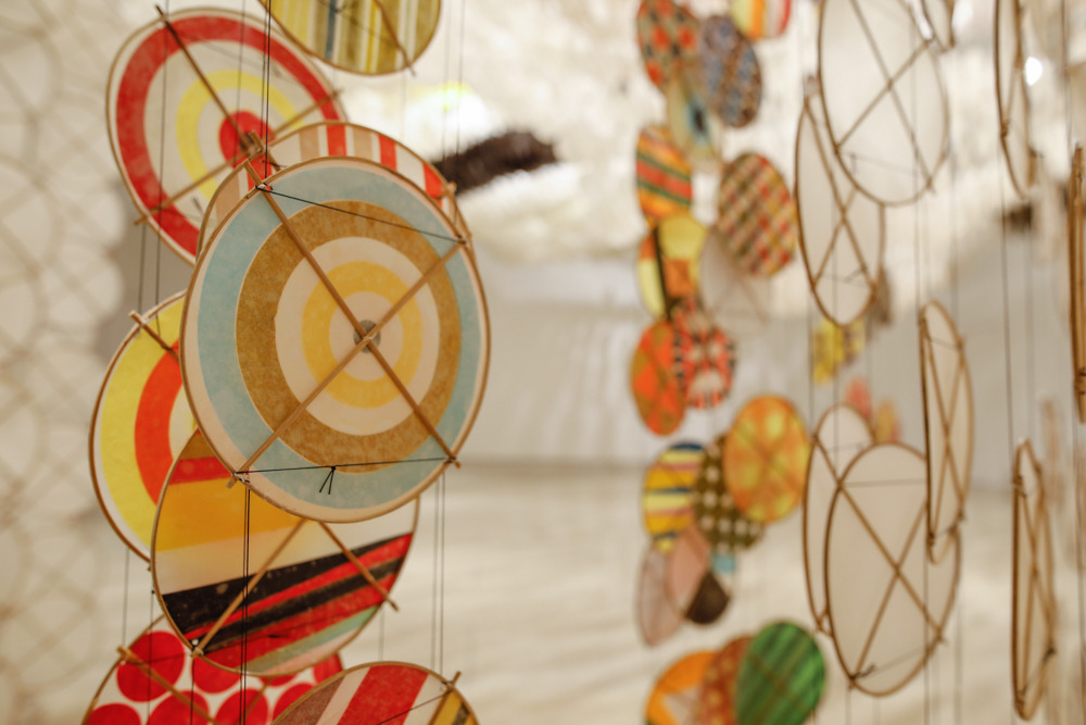 Gas Giant and Silence, 2016   Installation View   Paper, acrylic,bamboo, and Dacron   (detail)