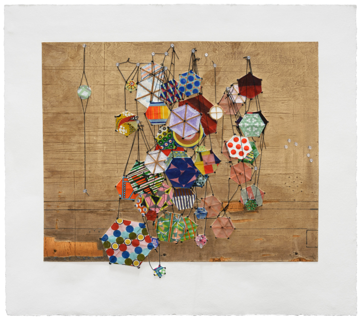 Tiny Rooms and Tender Promises ,2016   Mixografia print on handmade paper and archival pigment print with pushpins   33.25 X 37.25 inches      Edition of 27