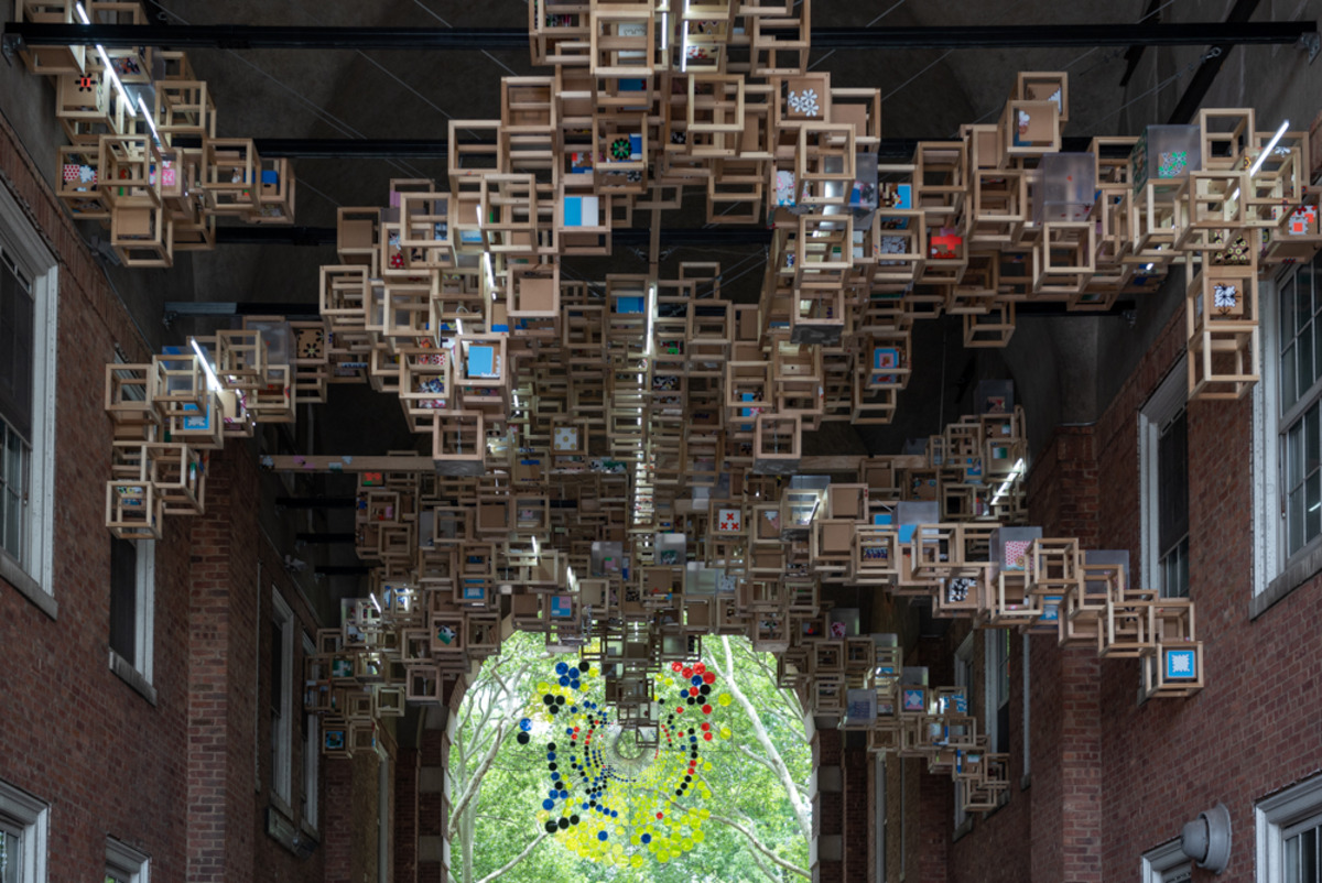 Never Comes Tomorrow, 2015-2018   Steel, ABS, wood, vinyl stickers, LED Lights   dimensions variable   Photo: Timothy Schenck