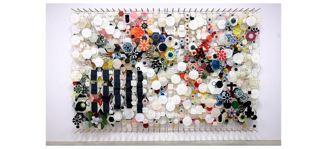 "Untitled,  2005   Paper, bamboo, acrylic, Dacron   78"" x 118"" x 8"""