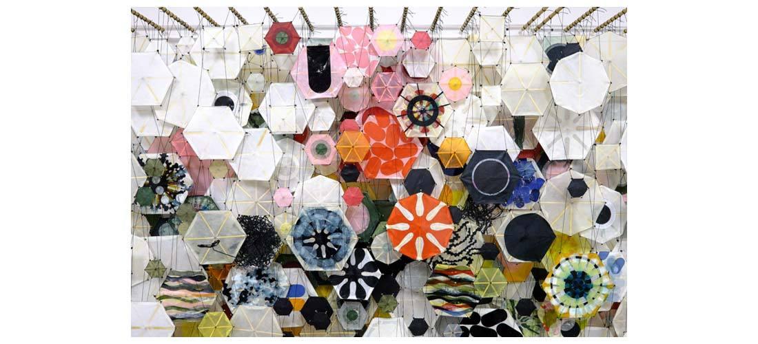"Untitled, 2005   Paper, bamboo, acrylic, Dacron   78"" x 118"" x 8""   (detail)"