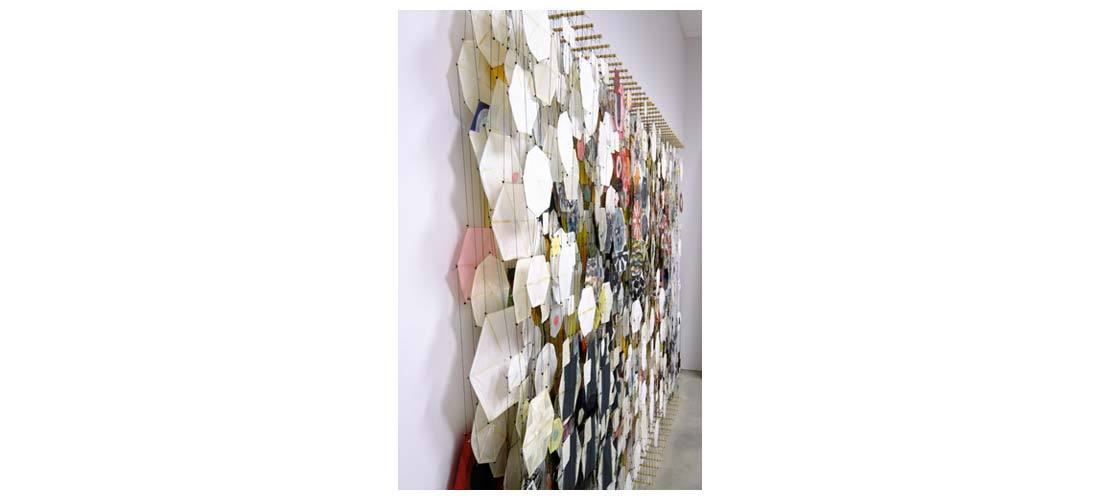 "Untitled, 2005   Paper, bamboo, acrylic, Dacron   78"" x 118"" x 8""   (Three quarters view)"