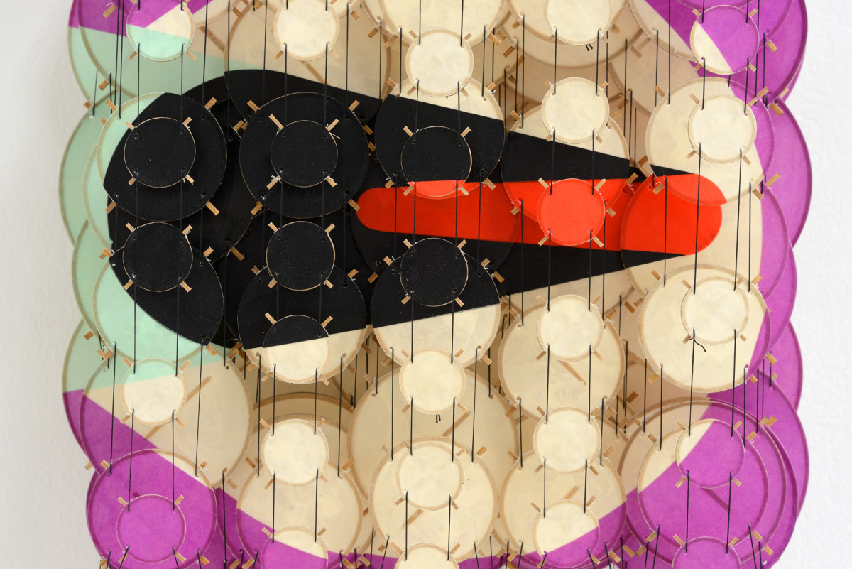 "The Transit I , 2015   Paper, bamboo, acrylic, Dacron   22"" x 17"" x 8""   (detail)"