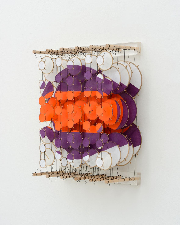 "The Axiom, 2015   Paper, bamboo, acrylic, Dacron   22"" x 17"" x 8""   (Three quarters view)"