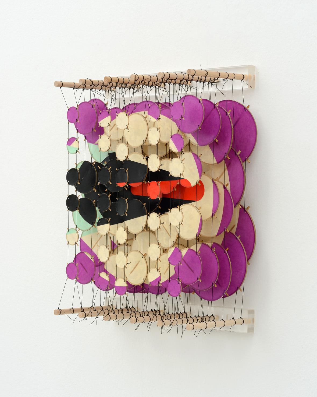 "The Transit I , 2015   Paper, bamboo, acrylic, Dacron   22"" x 17"" x 8""   (Three quarters view)"
