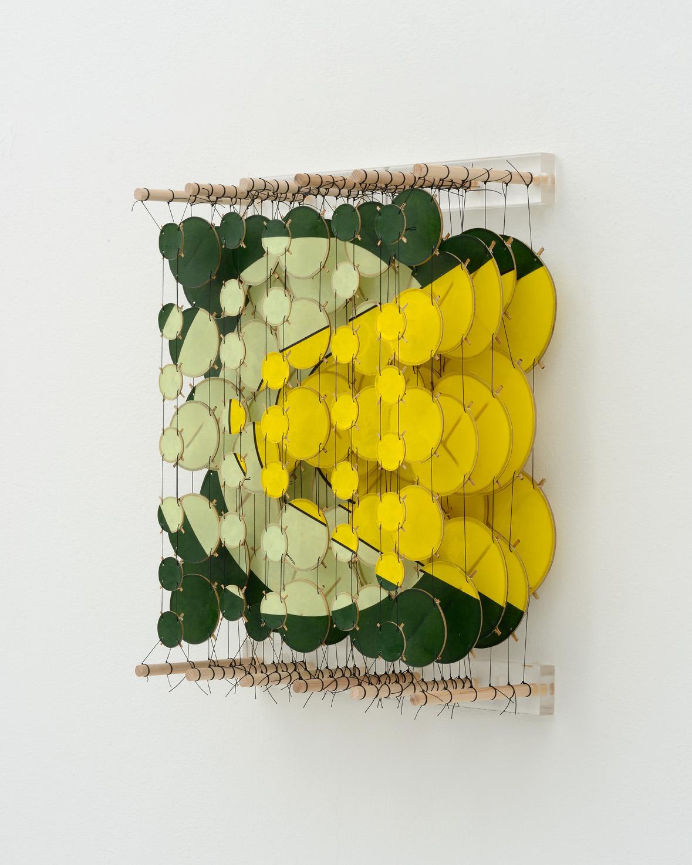 "The Lemma, 2015   Paper, bamboo, acrylic, Dacron   22"" x 17"" x 8""   (Three quarters view)"