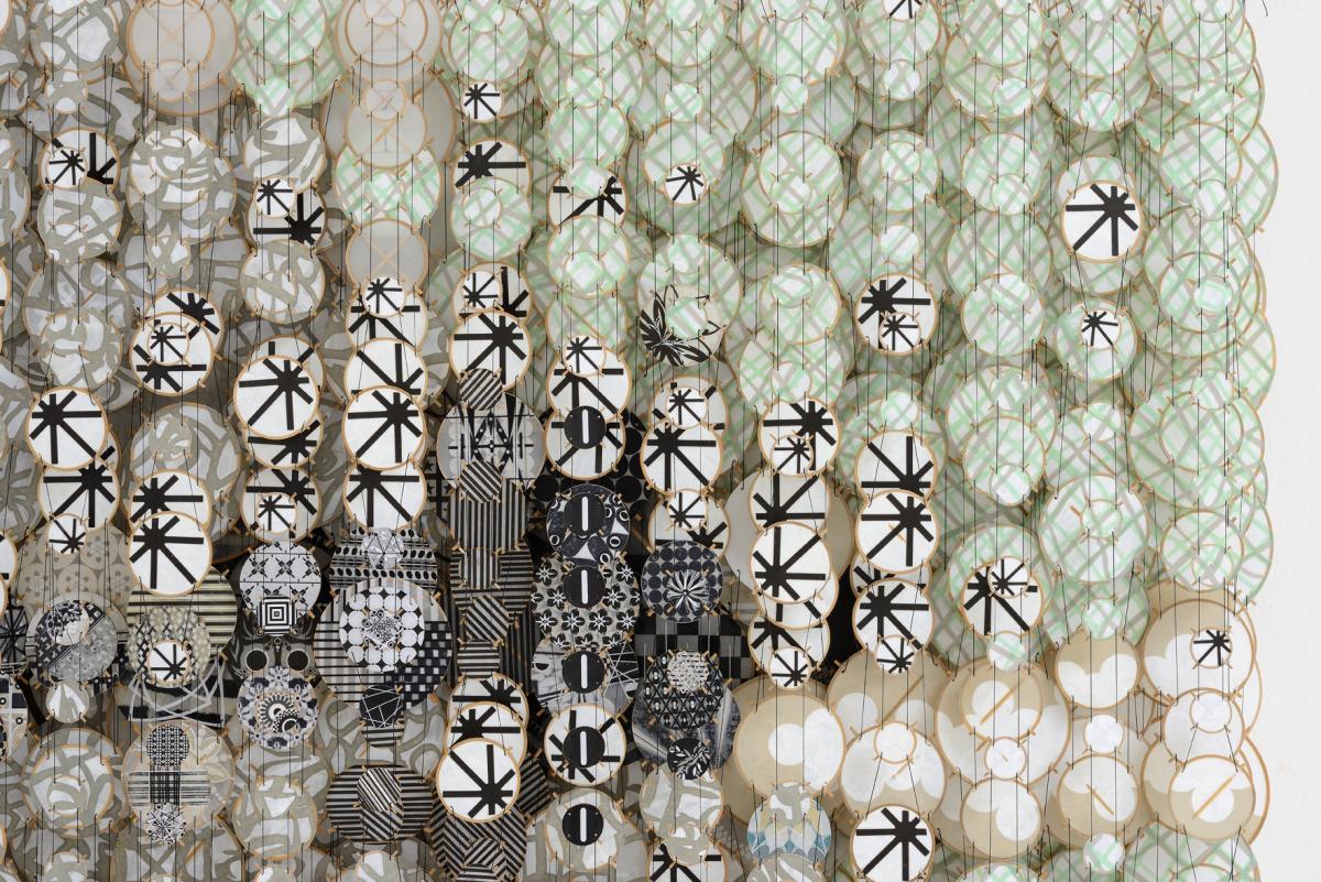 "Future Light, Shadows and Satellites, 2015   Paper, bamboo, acrylic, Dacron   42"" x 71"" x 8""   (detail)"