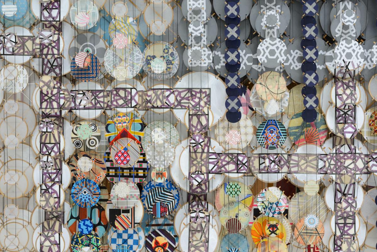 "The Mountain Builders, 2015   Paper, bamboo, acrylic, Dacron   42"" x 71"" x 8""   (detail)"