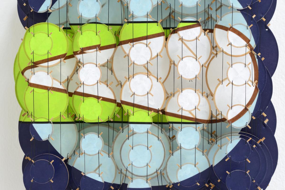 "The Transit II, 2015   Paper, bamboo, acrylic, Dacron   22"" x 17"" x 8""   (detail)"