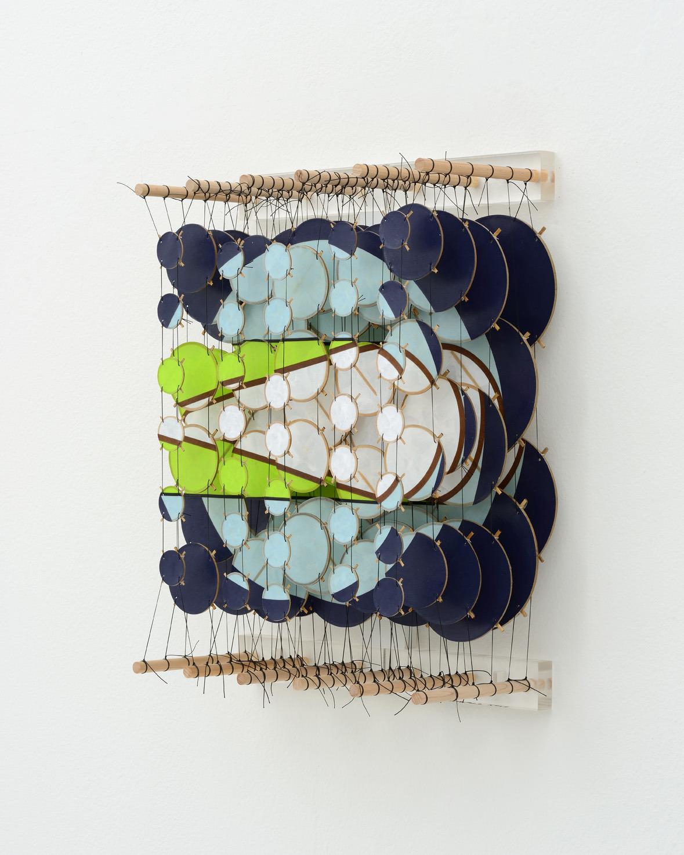 "The Transit II, 2015   Paper, bamboo, acrylic, Dacron   22"" x 17"" x 8""   (Three quarters view)"